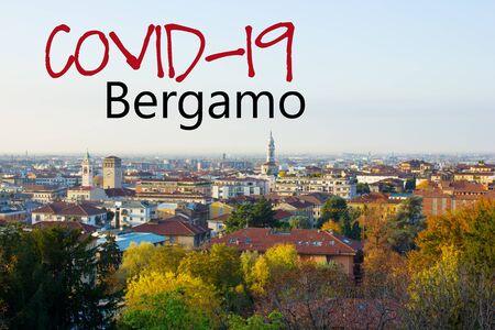 panorama of lower town of Bergamo , Italy, new corona virus concept