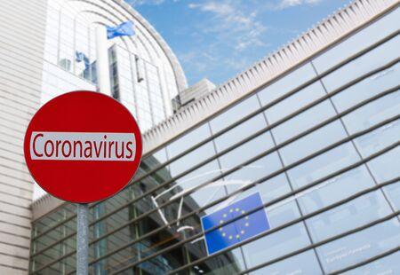 European Union parlament and Covid sign, coronavirus lockdown concept