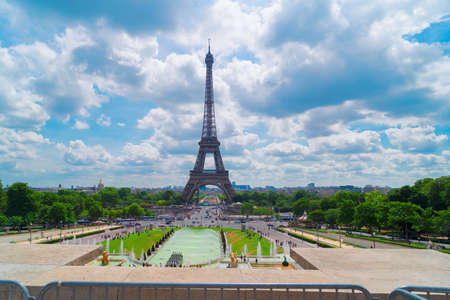 Eiffel Tower with view of flowing Trocadero fountains, Paris, France