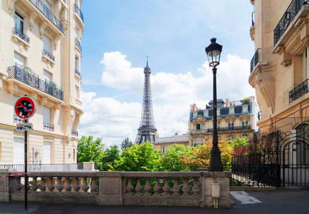 famous Eiffel Tower landmark and Paris city at summer, Paris France