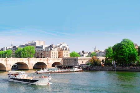 old Paris city over bridge Pont Neuf and Seine river, Paris, France