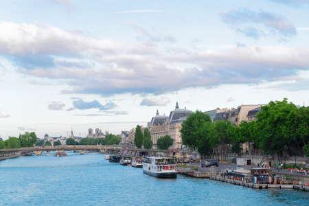 Orsay and river Siene quai at summer day, Paris, France
