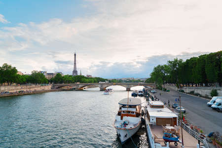 Eiffel Tower and Seine riverbank, Paris, France