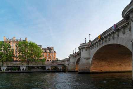 Eiffel Tower and Seine riverbank, low angle view, Paris, France