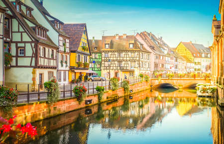 canal of Colmar, most famous town of Alsace, France with sunshine