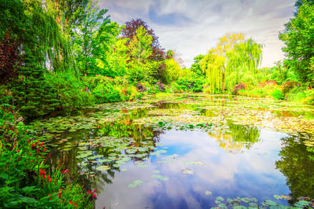 view of pond with water lilies in Giverny at summer day with sunshine