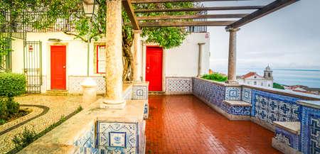 Miradouro de Santa Luzia in Lisbon, Portugal, web banner format, toned