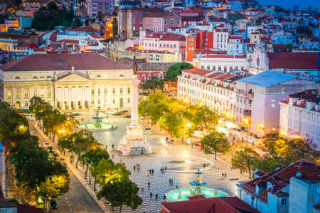 famouse Rossio square from above at night, Lisbon, Portugal, toned