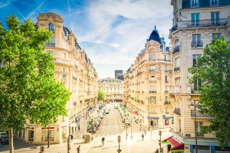 famous Paris summer street, Paris citscape, France with sunshine