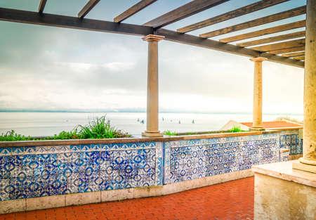 view from Miradouro de Santa Luzia in Lisbon, Portugal, toned
