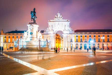 Commerce square (Praca do Comercio) in Lisbon, illuminated at night, Portugal, toned