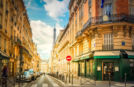 famous Eiffel Tower landmark and Paris city street at summer, Paris France with sunshine