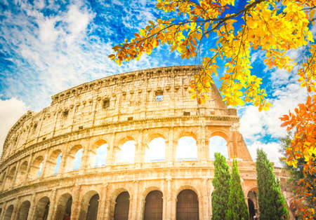 ruins of antique Colosseum, close up details of facade, Rome Italy at fall day