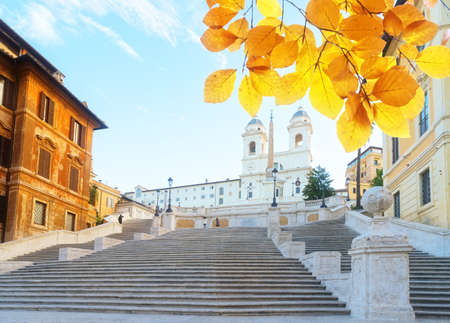 famous empty Spanish Steps with basilica, Rome, Italy at fall day