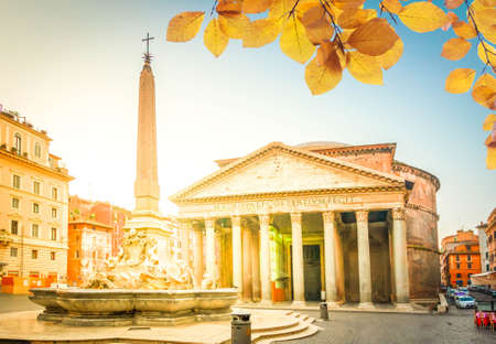 ancient Pantheon church in Rome with obelisk fountain, Italy at fall day Banque d'images