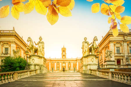 Campidoglio square with entrance stairs at sunrise, Capitoline hill in Rome, Italy at fall day