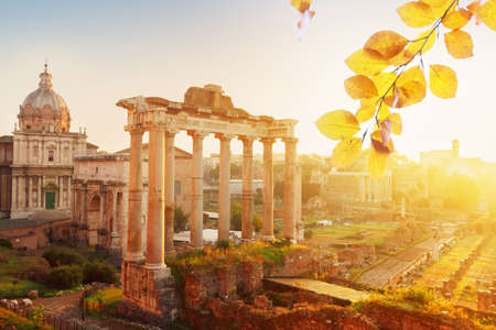 Forum - Roman ruins with cityscape of Rome with sunrire light, Italy at fall time