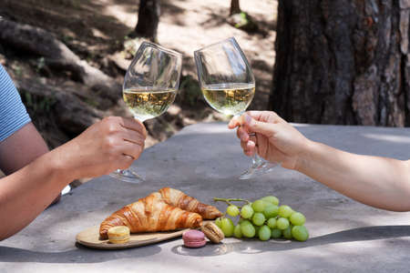 picnic with wine and croissants, couple cheers with glasses 免版税图像