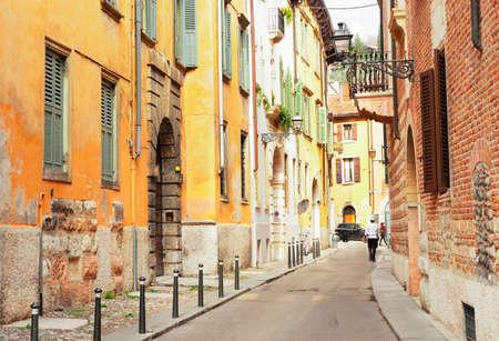 ancient romantic street in old town of Verona, Italy Banco de Imagens