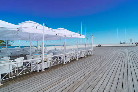 pier ande sea summer cafe at Sopot resort and Baltic sea, Poland