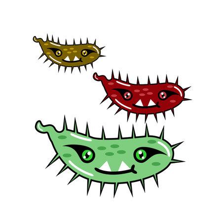 Vector graphic design of cute bacterial monsters Иллюстрация