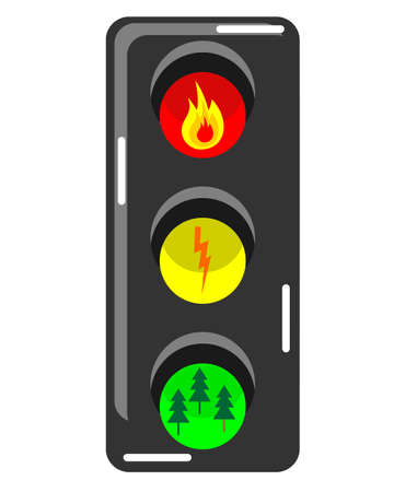 elements of fire, lightning, earth with red yellow green lights resembling traffic lights