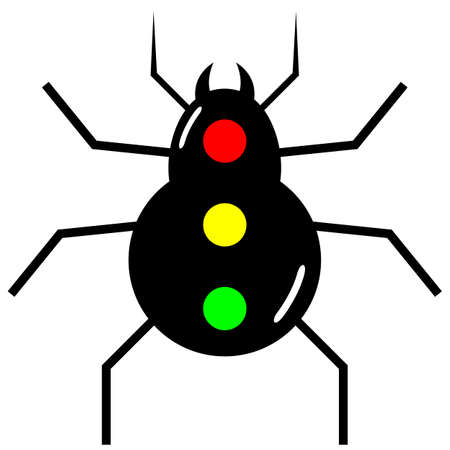traffic signal spider icon with red, yellow, green on its back