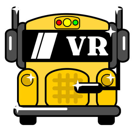 The school bus VR mascot cartoon graphic design illustration, very suitable for use as children's t-shirts