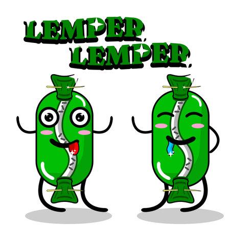 Graphic illustration of Indonesian traditional food Lemper mascot design