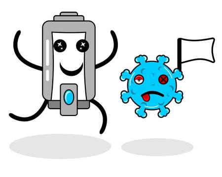 soap kills virus cartoon character illustration design