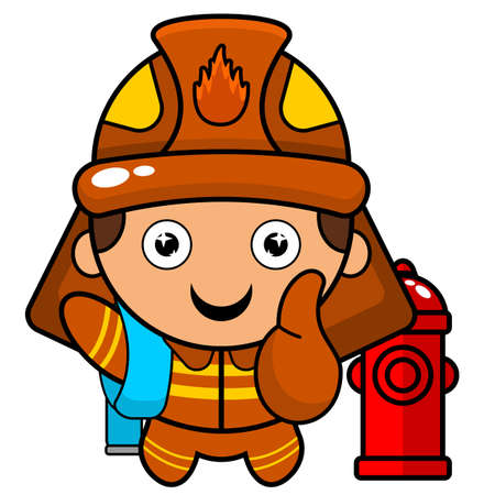 cartoon illustration of a fire extinguisher mascot character with fire tap