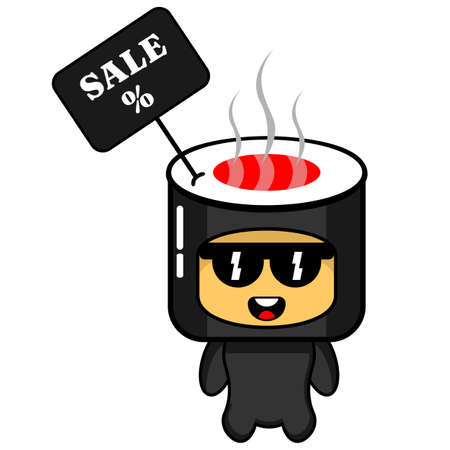 cartoon vector character sushi roll sale mascot, perfect for advertising or promotion