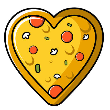 cartoon pizza vector illustration shaped love