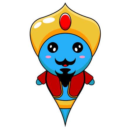 vector illustration of simple cute genie cartoon mascot character Vektorgrafik