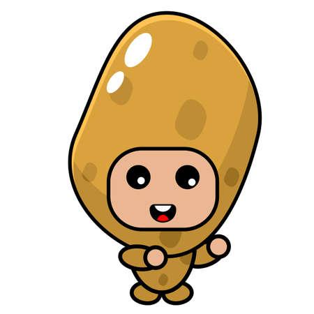 cartoon vector cute potato mascot costume character doing dubbing style Vector Illustration