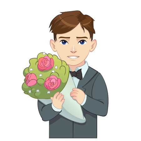 brown haired: Cartoon brown haired boy in suit holding bouquet Illustration