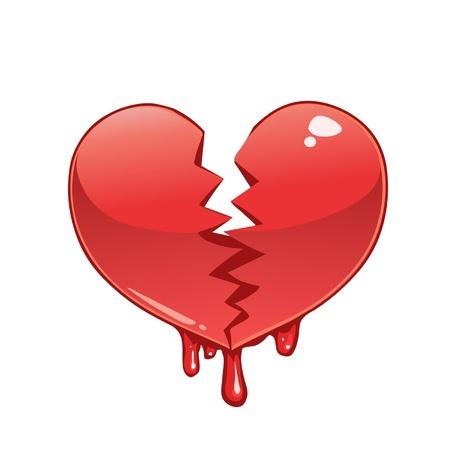 Broken and bleeding heart Vector