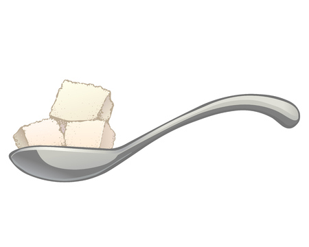 White sugar cubes in a metal spoon. Vector cartoon color illustration