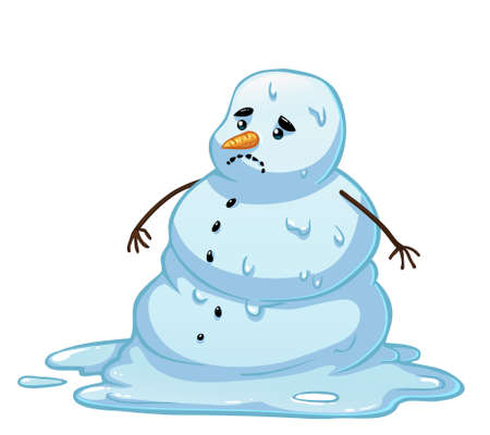 Vector cartoon snowman melting. Sad snowman character in spring