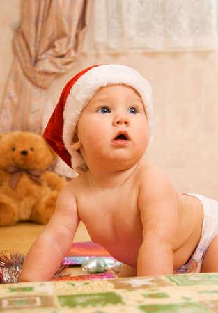 osos navide�os: Adorable al ni�o en Navidad sombrero