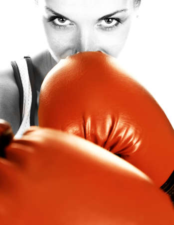 blackwhite: Black&white portrait of a girl with red boxing gloves