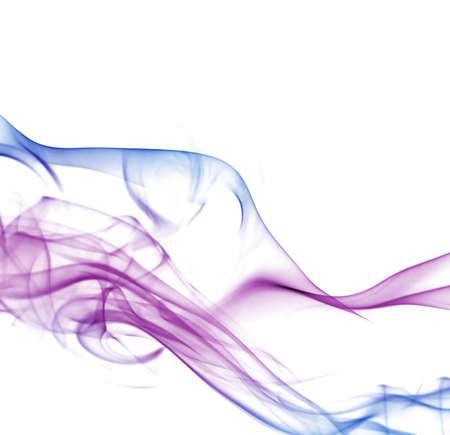turbulent: Colorful smoke on white background Stock Photo