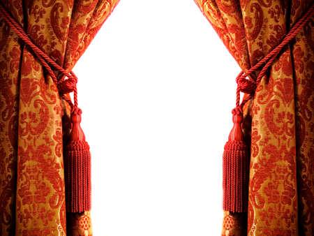 Cortina de lujo con una copia de espacio en el centro