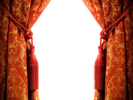 curtain design: Cortina di lusso con un copia-spazio in mezzo Archivio Fotografico