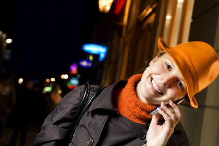 Beautiful girl talks on the phone Stock Photo - 2221997