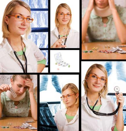 Conjunto de imágenes para ilustrar cuidado de la salud y la medicina  Foto de archivo - 2222032