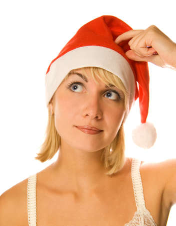 dona: Pensando Se�ora Santa aislados sobre fondo blanco  Foto de archivo