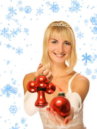 Beautiful princess with Christmas decoration Stock Photo - 2222095