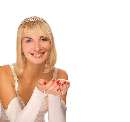 Beautiful  princess isolated on white background photo