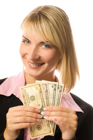 Happy business woman holding american dollars in her hands Stock Photo - 2250577
